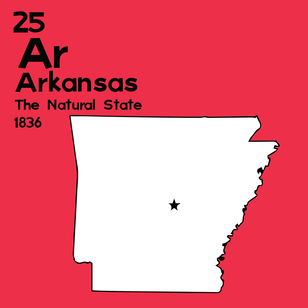 Arkansas - Unframed 12x12 Print