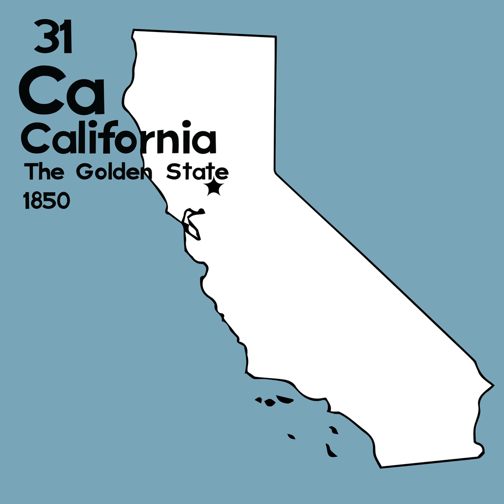 California - Unframed 12x12 Print