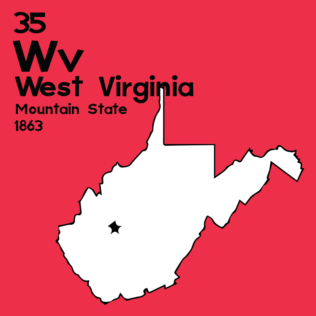 West Virginia - Unframed 12x12 Print