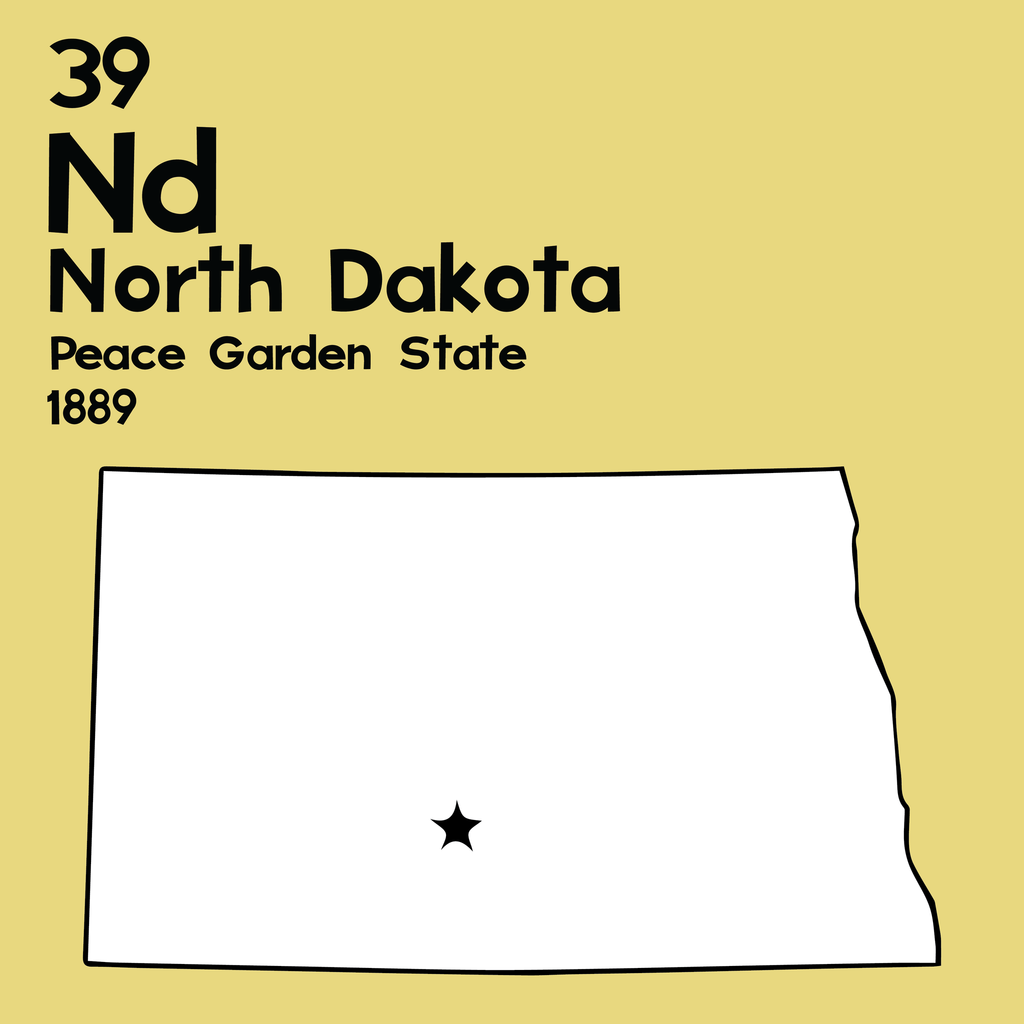 North Dakota - Unframed 12x12 Print