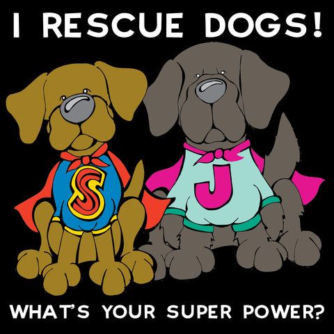 Full Color Superhero I Rescue Dogs Decal Dog