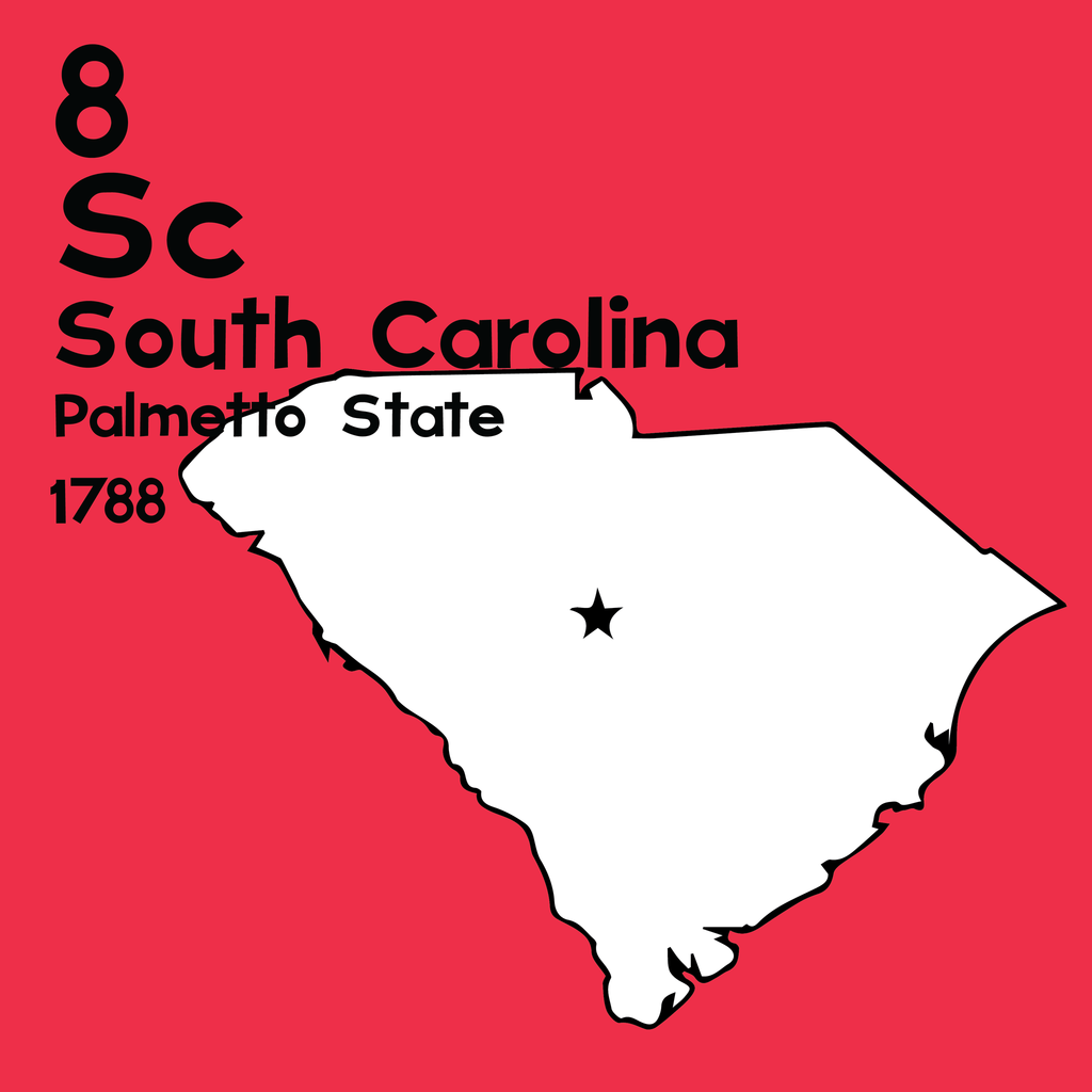 South Carolina  - Unframed 12x12 Print