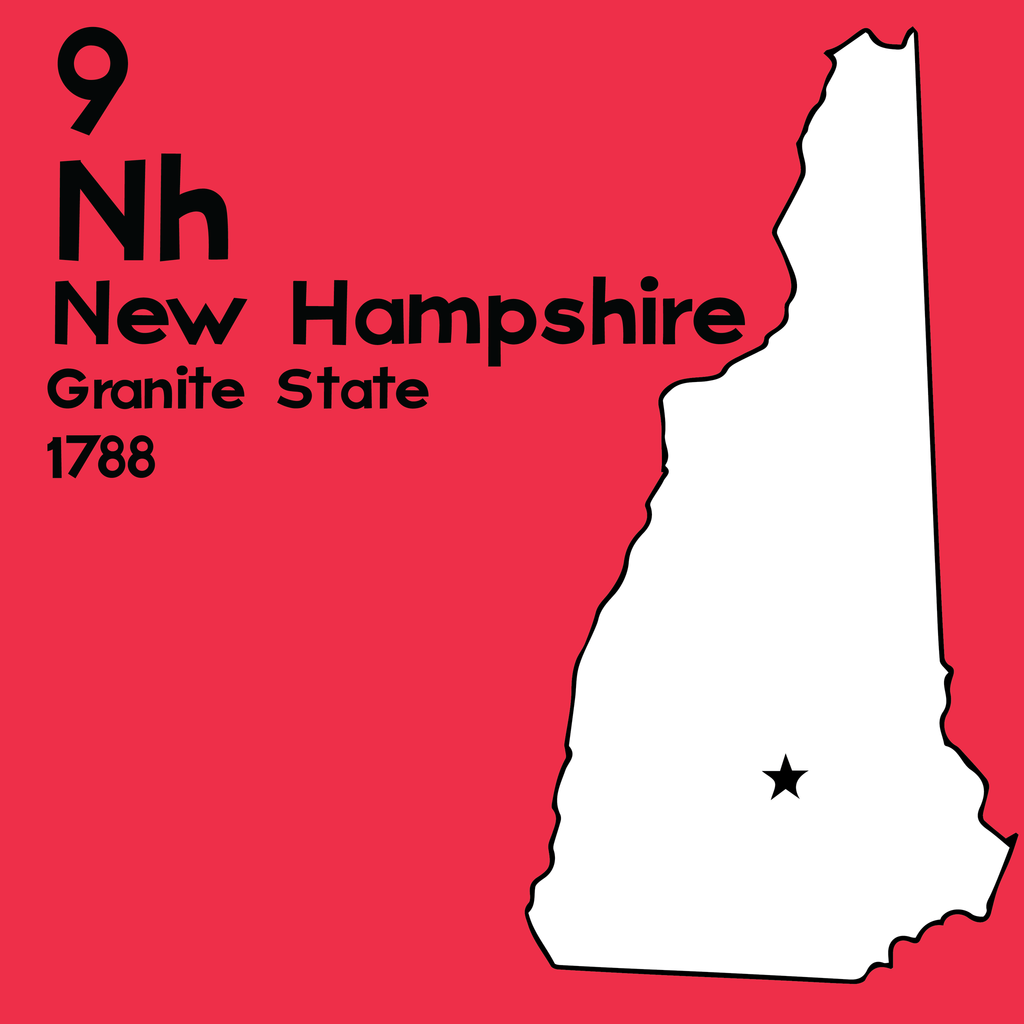 New Hampshire - Unframed 12x12 Print