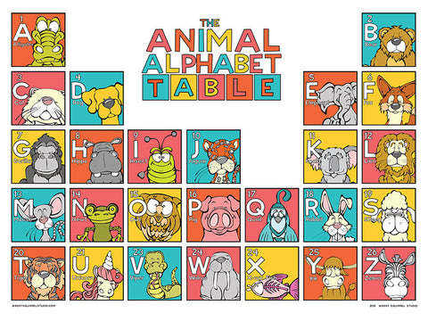 The Animal Alphabet Table Poster