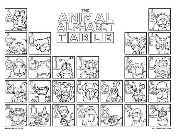 The Animal Alphabet Table Coloring
