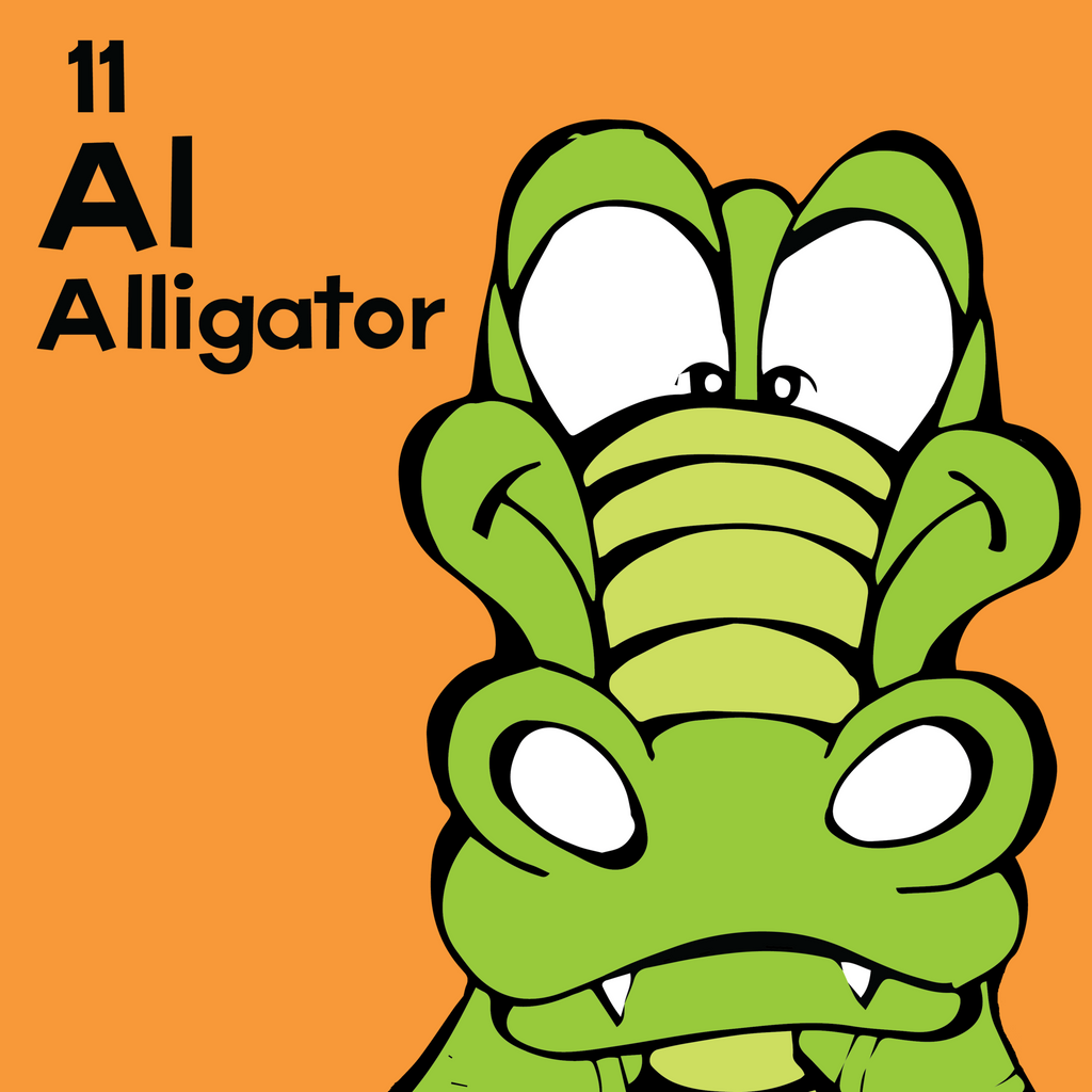 Alligator - The Animal Table - Unframed 12x12 Print