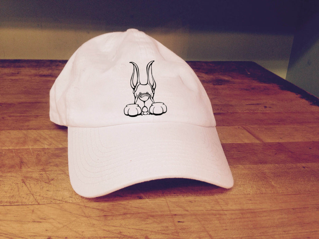 Great Dane, Cropped Ears - Paws Embroidered Cap