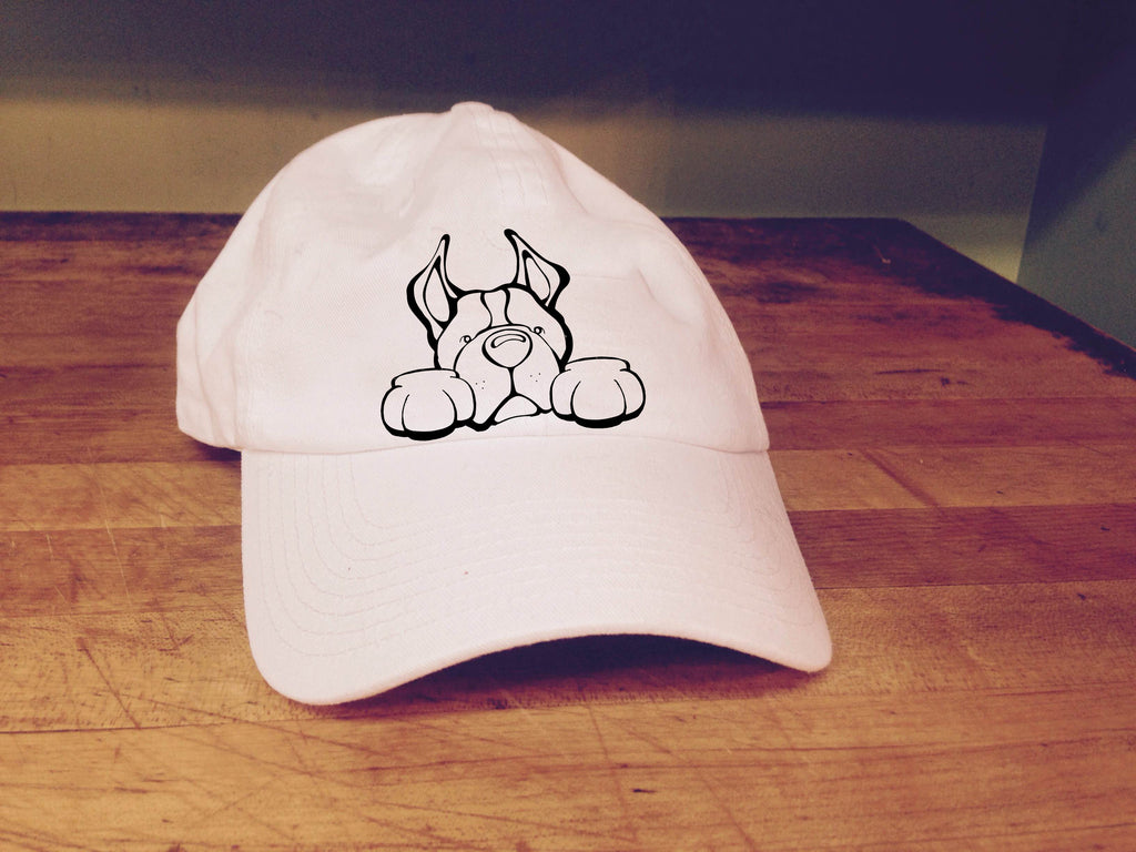 Pit Bull, Cropped Ears - Paws Embroidered Cap