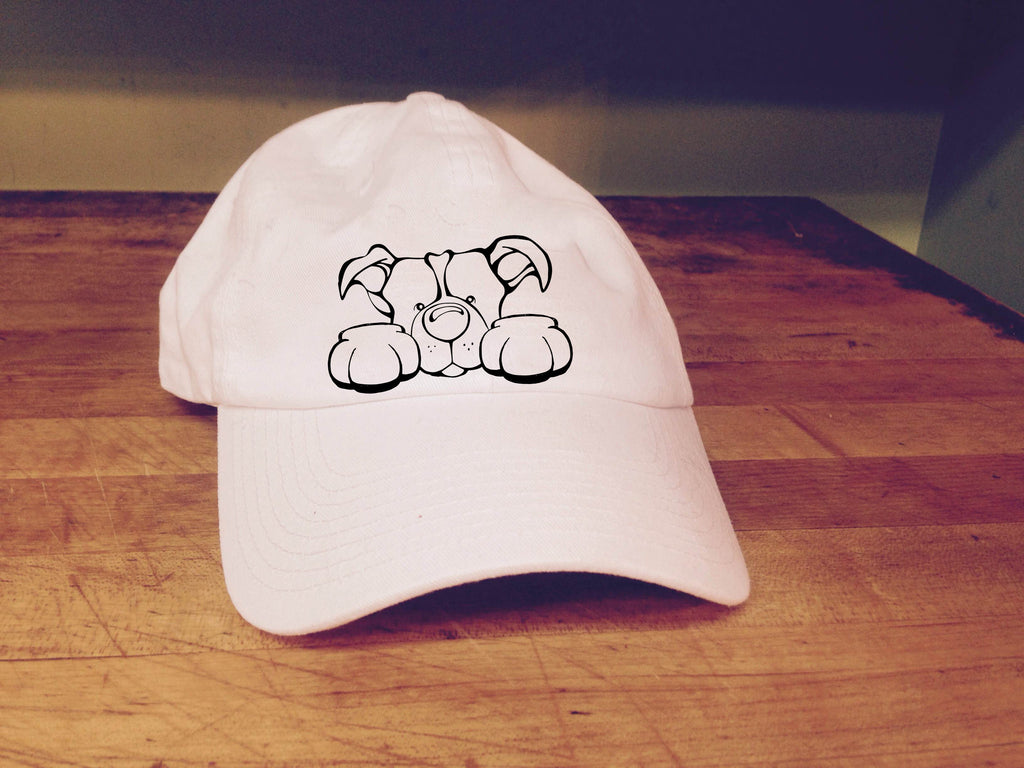 Pit Bull, Natural Ears - Paws Embroidered Cap
