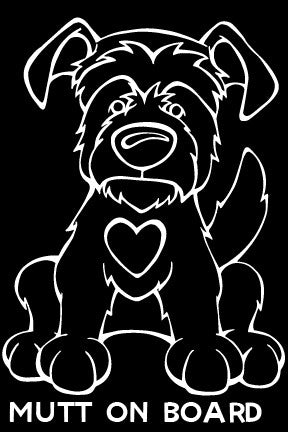Mutt On Board Decal Dog