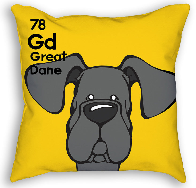 Black Great Dane Natural Ears Pillow