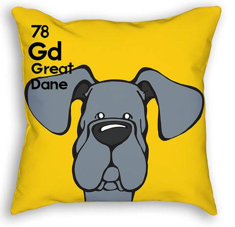 Blue Great Dane Natural Ears Pillow