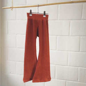 flared legging velours terracotta
