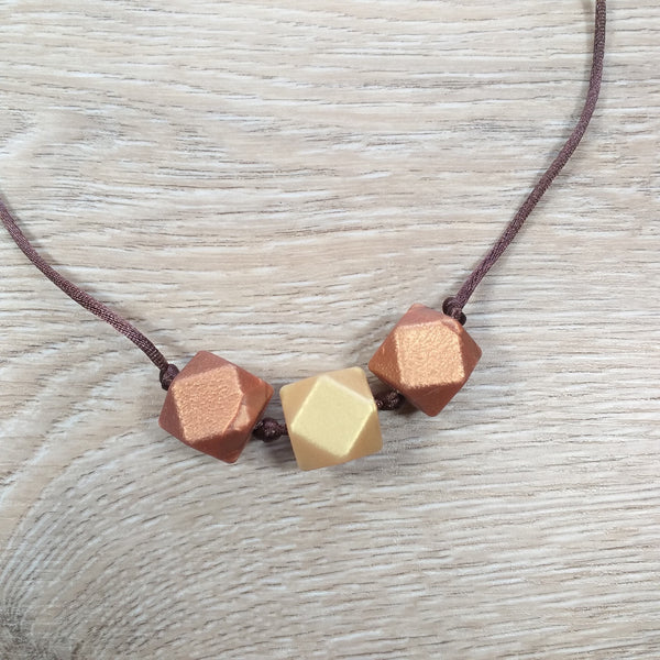 Bijtketting hexagon goud-koper