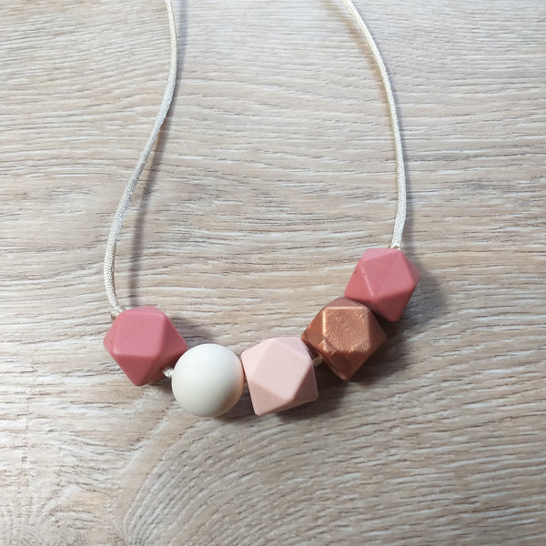 Bijtketting hexagon peachy-koper
