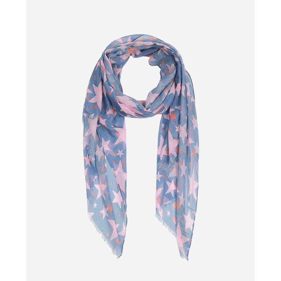 Denim Blue & Pink Star Print Scarf