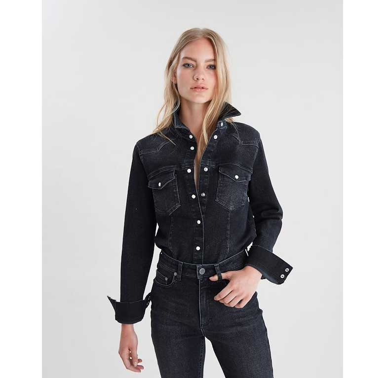 GESTUZ Astrid Black Denim Shirt