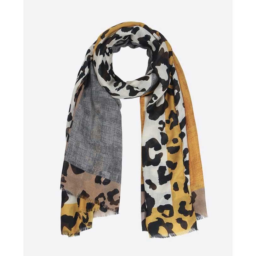 Grey and Mustard Leopard Print Scarf