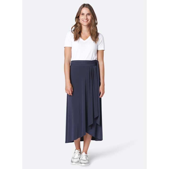Ilse Jacobsen Navy Volant Wrap Skirt