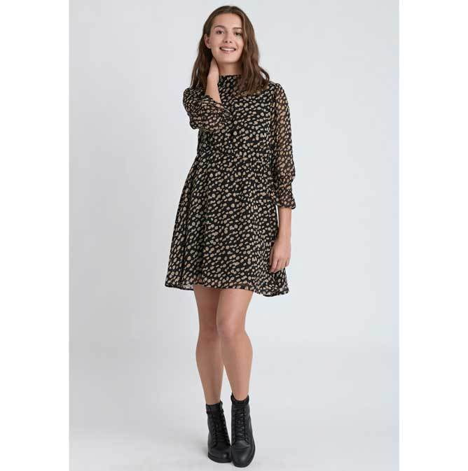 Dry Lake Jaxon Black Leopard Dress