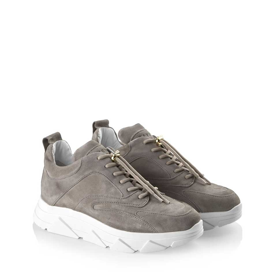 Pavement Portia Grey Suede Trainers