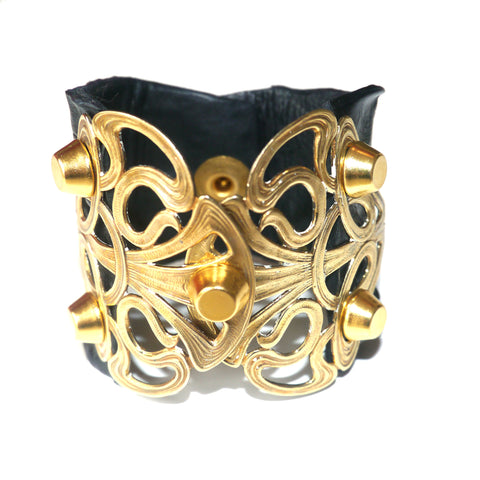 Ornament cuff - black gold