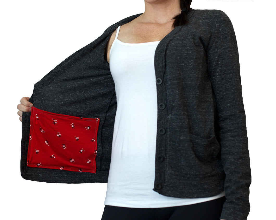 Mastectomy Cardigan with Drain Pouch Surgical Pockets
