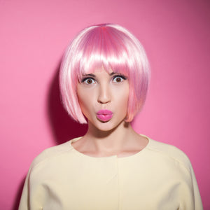 Short Pink Wig Breast Cancer Synthetic Bob