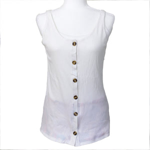 Mastectomy Recovery Button Down Tank with Surgical Drain Pockets
