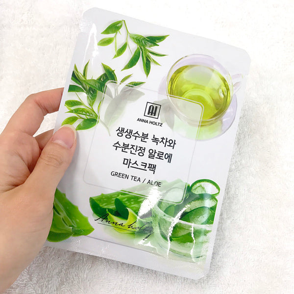 ANNA HOLTZ GREEN TEA/ ALOE FACIAL MASK (PACK OF 10)