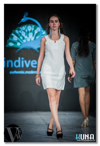 Embellished Tunic Dress in White - Indiverve