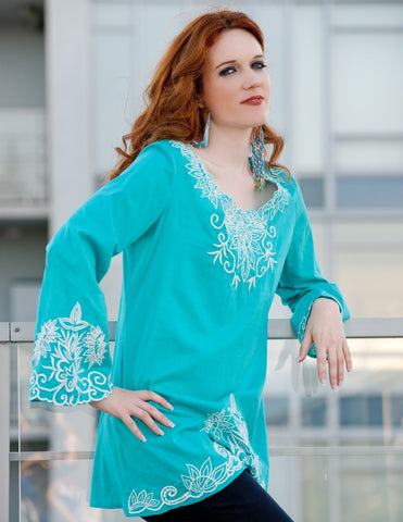 Embroidered Top in Turquoise - Indiverve
