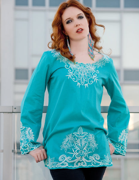Embroidered Top in Turquoise