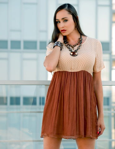 Two Tone Dress in Bronze - Indiverve