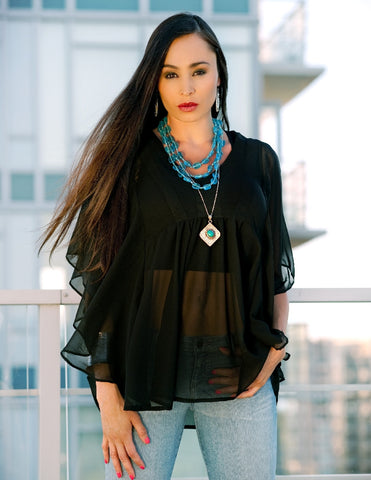Poncho Top in Sheer Black - Indiverve