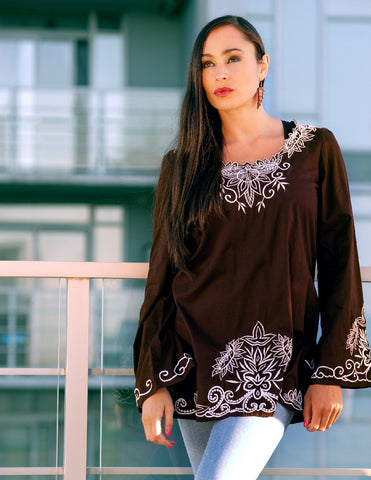 Embroidered Top in Chocolate - Indiverve
