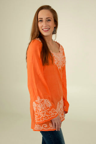 Embroidered Top in Tangerine - Indiverve
