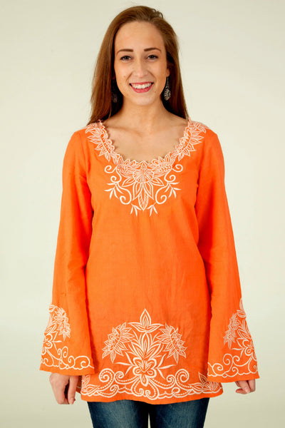 Embroidered Top in Tangerine