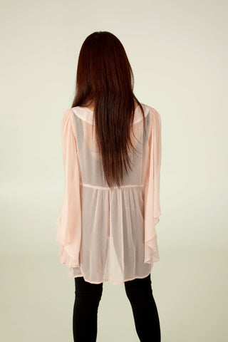 Sheer Poncho Top in Pink