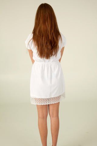 Little White Dress with Lace Hem - Indiverve