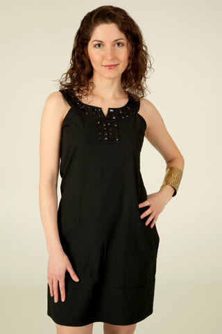 Embellished Tunic Dress in Black - Indiverve