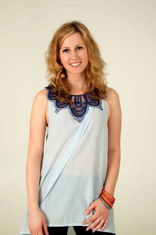 Crochet Top in Blue - Indiverve