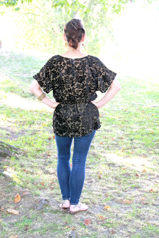 Floral Tunic Top in Black Shimmer - Indiverve