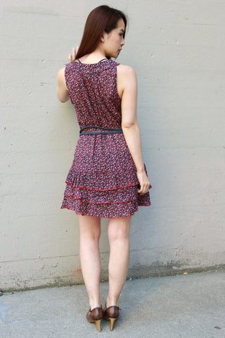 Floral Print Dress with Red Ruffles - Indiverve