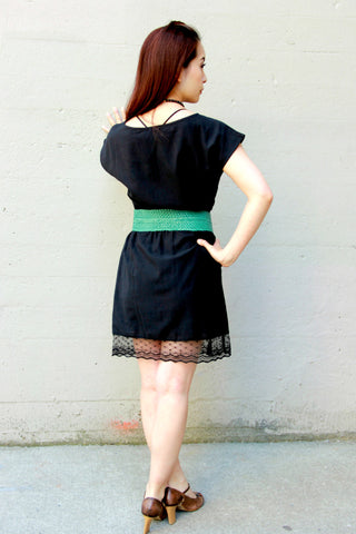 Little Black Dress with Lace Hem - Indiverve