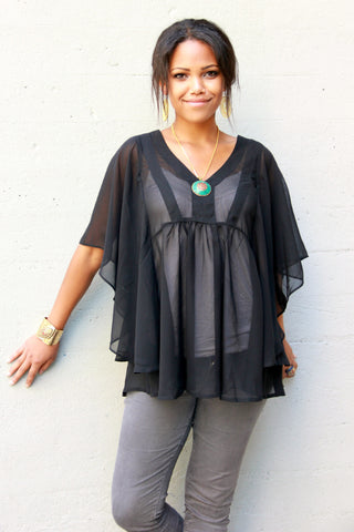 Sheer Poncho Top in Black