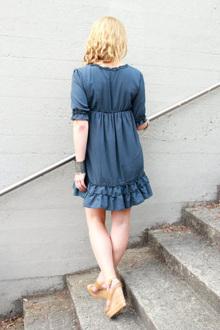 Ruffle Dress in Charcoal Grey - Indiverve