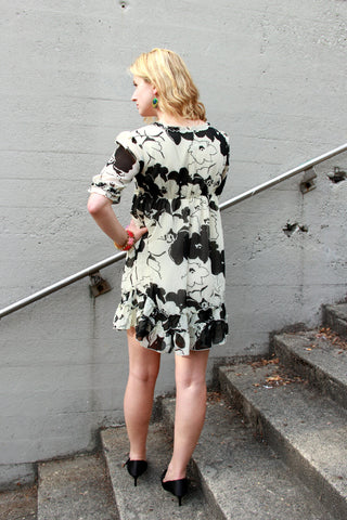 Ruffle Dress in Black & White - Indiverve