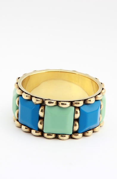 Colour Block Bangle in Turquoise