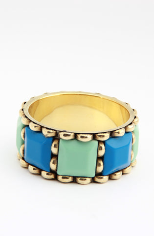 Colour Block Bangle in Turquoise - Indiverve
